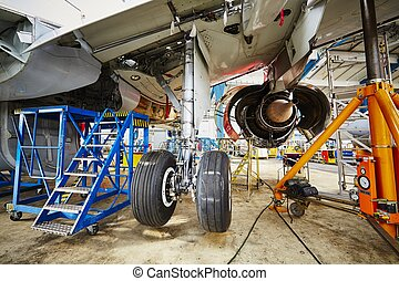 Heavy maintenance - Chassis of the airplane under heavy ...
