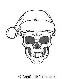 Heavy metal Christmas design. Bad Santa Claus biker poster. Rock and roll new year t-shirt illustration