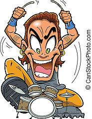 Heavy Metal Drummer - Heavy metal rock drummer is a wild man...