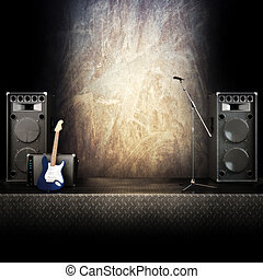 Heavy metal music stage or singing background, microphone,...