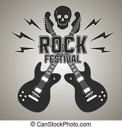 Heavy metal or rock poster with guitar and skull