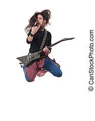 heavy metal rocker jumps on a white background
