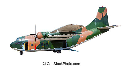 heavy military container plane isolated white background