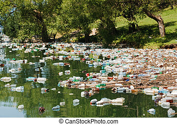 heavy plastic pollution in wild beautiful landscape