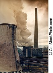 Heavy pollution - Heavy smoke from industrial chimney...