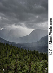 Heavy rain at Logan Pass, Glacier National Park - Big...