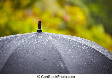 Heavy rain - Black umbrella in heavy rain - selective focus