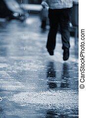 Heavy rain - City street in heavy rain - selective focus