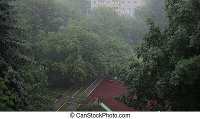 Heavy rain. High angle view from window 2