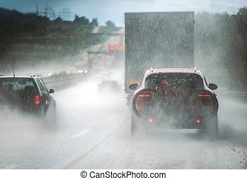 Heavy Rain Highway Traffic