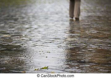Heavy rain in the city - selective focus