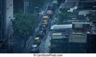 Heavy Rain On City Road In Developing Country - Urban...