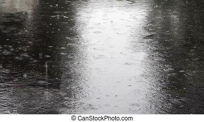 Heavy rain on the street.