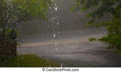 Heavy Rain on Tropical Island Road. Thailand.