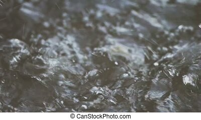Heavy rain on water shooted with high speed camera 120fps