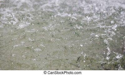 Heavy rain on water shooting high speed camera