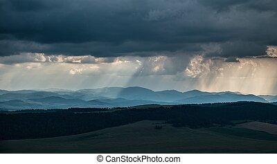 Heavy rain over hills