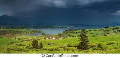 Heavy rain over lake