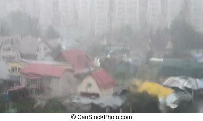 Heavy rain pouring outside