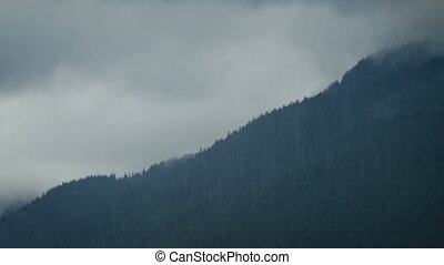 Heavy Rain Storm Over Mountainside