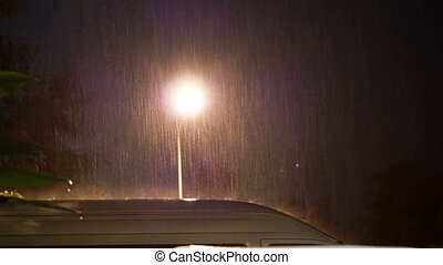 Heavy raining at night on car