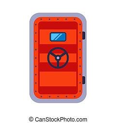 heavy red bunker door. hide in a bomb shelter. flat vector illustration.