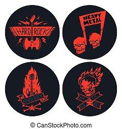 Heavy rock music badge vector vintage label with punk skull symbol hard sound sticker emblem illustration