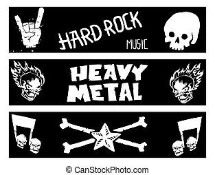 Heavy rock music banner vector vintage label with punk skull symbol hard sound sticker emblem illustration