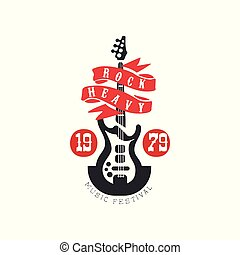 Heavy Rock music festival est. 1979 logo, design element with electric guitar can be used for poster, banner, flyer, print or stamp vector Illustration on a white background