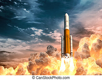 Heavy Rocket Launch On The Background Of Cloudy Sky. 3D...