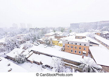 Heavy snow in Moldova, view of national emergency hospital