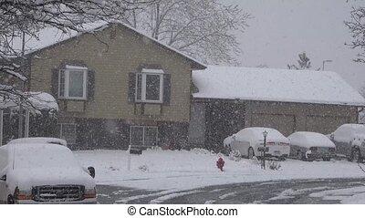 Heavy Snow Suburban House - A suburban house getting nailed...