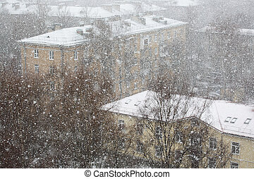 Heavy snowfall in city - Panoramic view on snowfall in the ...