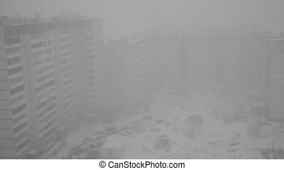 heavy snowfall in Moscow, Russia - heavy snowfall in a...