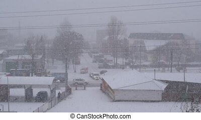 Heavy snowfall in winter in small country town