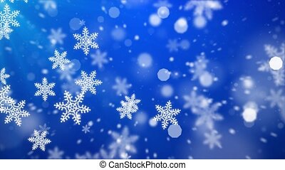 heavy snowfall, snowflakes in different shapes. Many Blue ...