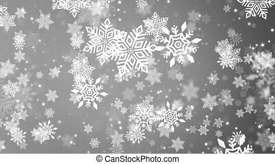 heavy snowfall, snowflakes in different shapes. Many white ...