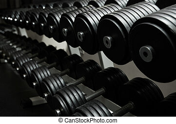 modern sports club - Heavy sports dumbbells in modern sports...