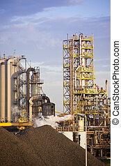 Heavy steel industry at huge steel factory