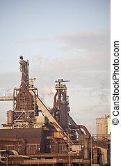 Heavy steel industry at steel factory - Heavy steel industry...