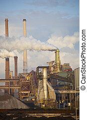 Heavy steel industry at steel factory