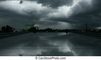 Heavy storm above the city - Heavy storm above the small ...