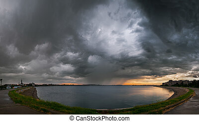 Heavy storm in Bucharest over Mill Lake