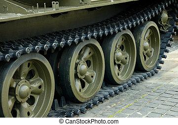 Heavy tank track close-up of wheels