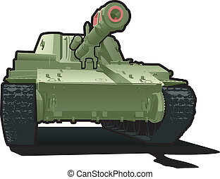 Vector color illustration of tank. (Simple gradients only - no gradient mesh.)