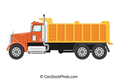 Heavy tipper truck isolated on white background