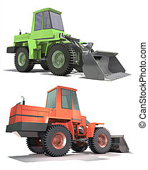 Heavy tractor with a bucket. Isolation on white background. Render.