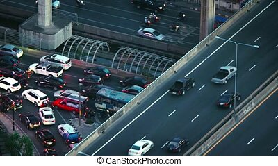 Heavy Traffic at a Complex Highway Interchange in Asia. Video