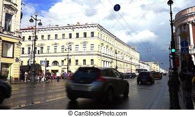 Heavy traffic at Nevsky Avenue, Saint Petersburg - SAINT...