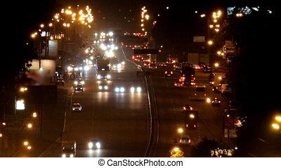 heavy traffic on the freeway at nig